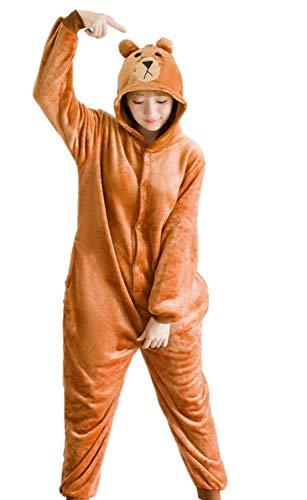 Pigiama kigurumi tuta costume animale per carnevale, halloween, festa, cosplay monopezzo in flanella, morbido e comodo (altezza 159cm-168cm/m, orso bruno)