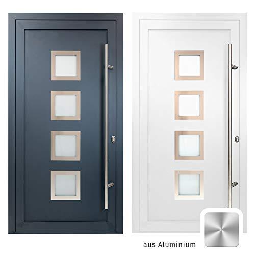 HORI® Haustür Bordeaux I Aluminium Haustüre mit Glaseinsatz I Nebeneingangstür Farbe: Weiß I Größe: 2000 x 1000 mm I DIN Rechts