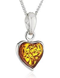 InCollections Damen-Halskette Herz 925 Sterling Silber 1 Bernstein gelb 42 cm