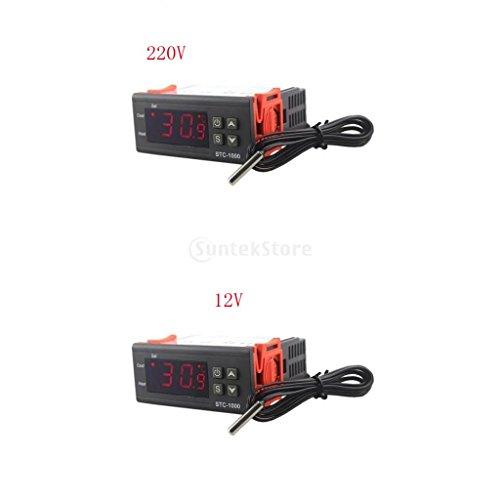 Sharplace Digitaler LED Temperaturregler Temperatur Regler Temperature Controller Thermostat Thermoelement Heizen oder Kühlen STC-1000 mit Temperaturfühler Sensor Sonde Set/2Stück - 12 V 220V -