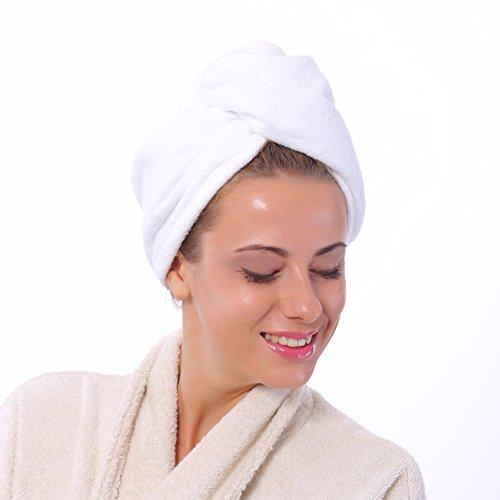Bravo Haar-Handtuch, Anti-Frizz, sehr saugfähig, Turban-Handtuch für Lange und Kurze, Glatte und gelockte Haare, (weiß)
