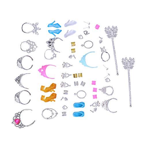 Toyvian Prinzessin schmuck Spielzeug mädchen schmuck Dress up Play Set Pretend Play Dress up Toys Kronen Halsketten Zauberstäbe Ringe Ohrringe und Schuhe Mädchen Parteibevorzugung