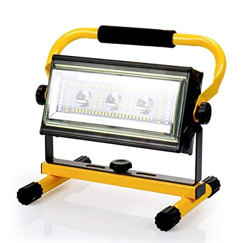 Led Baustrahler Akku Strahler - 30W Baulampe Arbeitsleuchte mit 6 Lichtmodi (300~3000 Lumen), Arbeitsleuchte Tragbar, bis 10 Stunden Leuchtdauer, USB Ausgang-Ports, Außen Beleuchtung für Camping