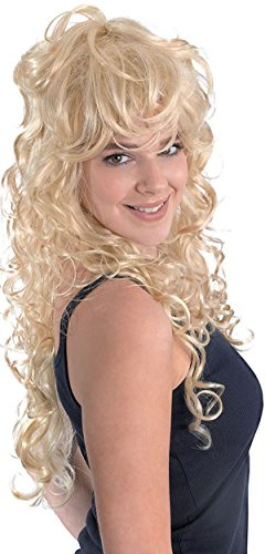 Damen Fancy 1980er Party Kleid Rock Chick lockig Long Fake & Kunsthaarperücke UK Gr. Einheitsgröße, beige (blonde)