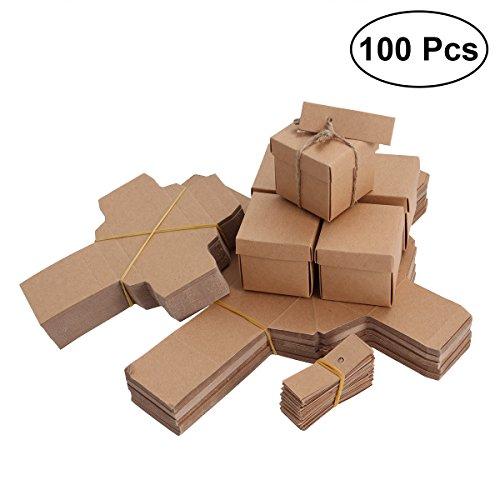 LUOEM Kraft DIY Papier Süßigkeitskästen Vintage Treat Boxen mit Tag und Hanf Seil Hochzeit Gefälligkeiten Candy Halter Taschen Geschenk-Boxen, Pack von 100