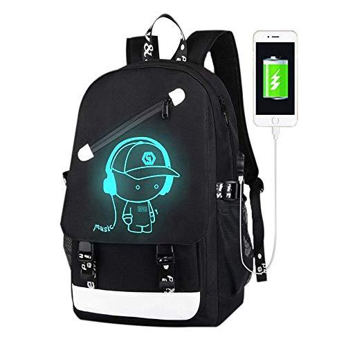 Schultaschen, Anime Luminous Rucksack USB Ladeanschluss Laptoptasche Handtasche Leinwand Schulter Daypack für Cool Girls Boys Teens Outdoor Rucksack (Schwarze Musik)