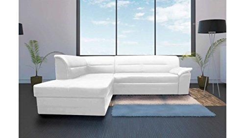 JUSTyou Elanno Canapé d'angle Sofa canapé lit Cuir écologique (HxLxl): 83x250x208 cm Blanc Angle gauche