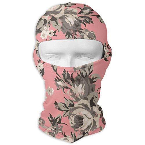 Voxpkrs Balaclava Vintage Chintz Roses Pattern Full Face Mask Windproof Ski Mask Motorcycle Face Masks Vintage Rose Chintz