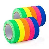 GIGALUMI 10-Pack UV Blacklight Reactive Glow in The Dark Tape, Fluorescent/Neon Gaffer Tape (.5 in x 16.5 feet)