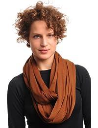 Chocolate Brown Soft Cotton Snood Scarf - Brown Plain Designer Snood