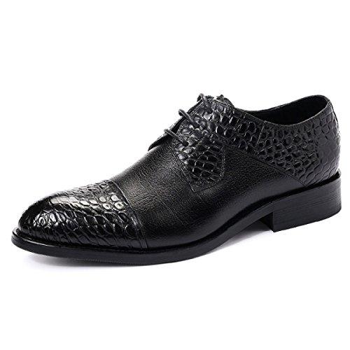 GRRONG Chaussures En Cuir Pour Hommes Chaussures De Costume D'affaires Rondes Et Cuir Black