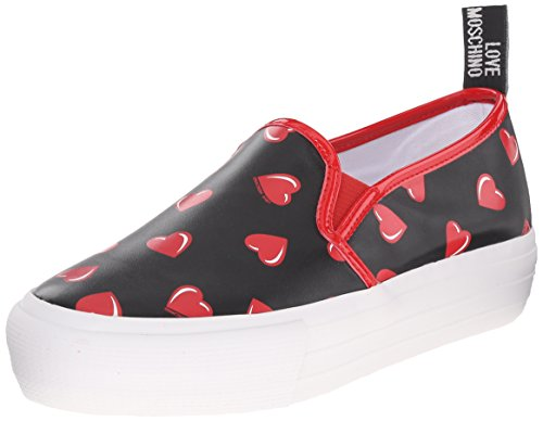 LOVE MOSCHINO donna slip on JA15024G11IG000A, Nero-Rosso, 40