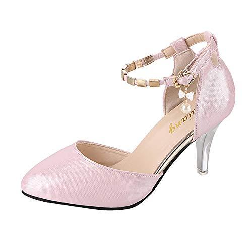 Damen Pumps Sandalen Absatzschuhe,High Heel Schuhe mit Fesselriemchen Party Hochzeit Schuhe aus Leder,Tanzschuhe Hochhackig Sandaletten Riemenpumps mit 8cm Hohem Absatz Abendschuhe Elegant für Frauen