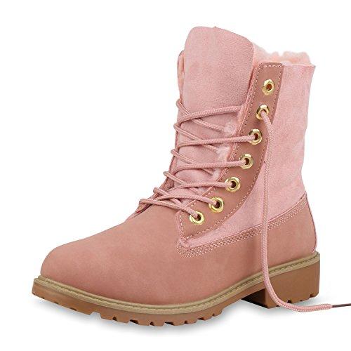 SCARPE VITA Damen Stiefeletten Worker Boots Warm Gefütterte Stiefel Outdoor Schuhe Kunstfell Profilsohle Booties Schnürschuhe 153829 Rosa Rosa 36