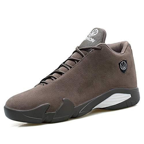 ZHRUI Männer Basketball Schuhe Air Sole Outdoor Hohe Spitzensport Athletic Man Sneakers (Farbe : Khaki a, Größe : 7=41 EU) - Mens Athletic-basketball-schuh