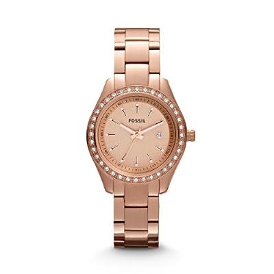 Fossil Stella Mini ES3196 - Reloj analógico de cuarzo para mujer, correa de acero inoxidable chapado color oro rosa (agujas luminiscentes)
