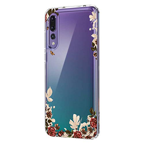 Huawei P20 Hülle, Huawei P20 Lite Clear Tasche Hülle Flexibel TPU Silikon Fashion Flower Design HandyhülleTransparent Schutzhülle für Huawei P20 Pro (3, P20 Lite) Iii Handy