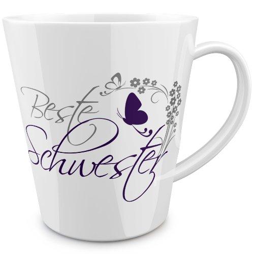 FunTasstic Tasse Beste Schwester (geschwungen) konische Tasse Kaffeepott 350 ml by StyloTex ®