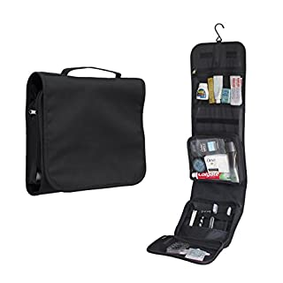 Hanging toiletry bag by Nomalite. | Black folding travel wash bag for men & women/ladies with strong hook and large detachable clear compartment for makeup or liquids in flights. Ideal for travel.