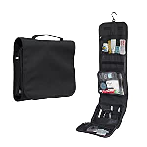 Hanging toiletry bag by Nomalite | Black folding travel wash bag for men & women / ladies with strong hook and large detachable clear compartment for makeup / liquids in flights. Ideal for travel.