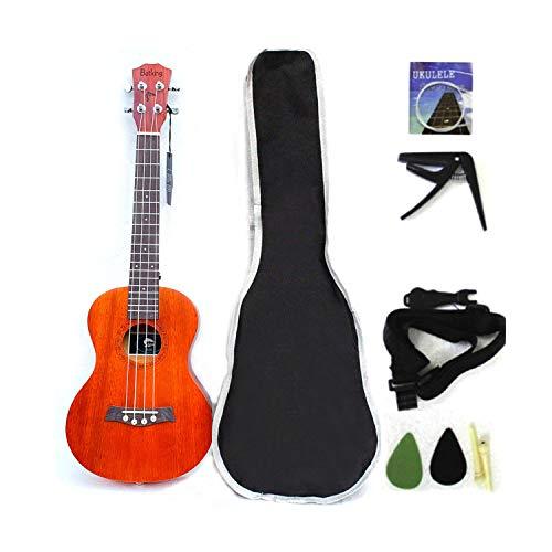 Ukulele da concerto con parte superiore in mogano, 58,4 cm, con accessori per ukulele con custodia, tracolla, corda in nylon 21 inch