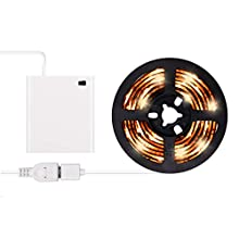 Battery Operated LED Strip Lights - iCreating 2020 New Design Warm White USB LED Light Strip Kit with 6.6FT 2M SMD 3528 IP65 Waterproof Super Bright LED Tape Light, Battery Box