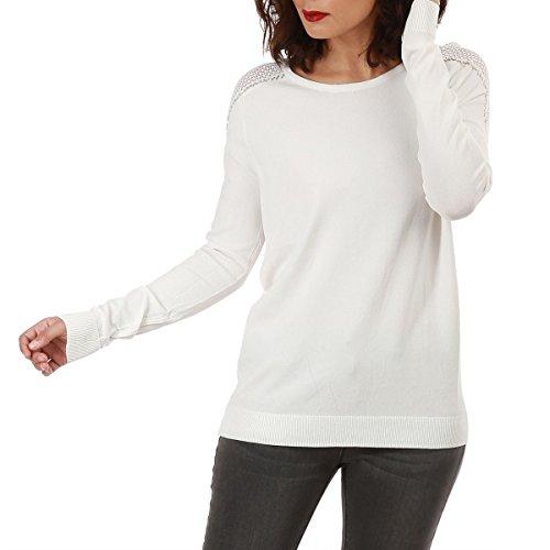 La Modeuse - Pull fin à manches longues Blanc