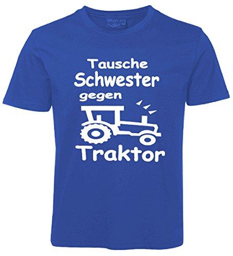 Kinder Sprüche T-Shirt Tausche Schwester gegen Traktor Blau Größe 104