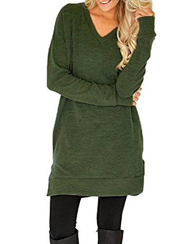 Auxo Damen Shirt Langarm V-Ausschnitt Longshirt Lose Oversize Oberteil mit Tasche Armee Grün EU 36/Etikettgröße S (Top Boyfriend V-neck)