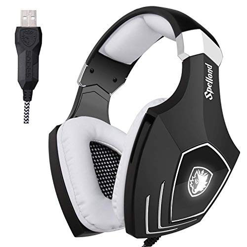 Cuffie da Gioco Con Audio surround Sades OMG Stereo Bass USB e Over-Ear Con Microfono e LED Gaming Headset Per PC & Mac (Nero + Bianco)