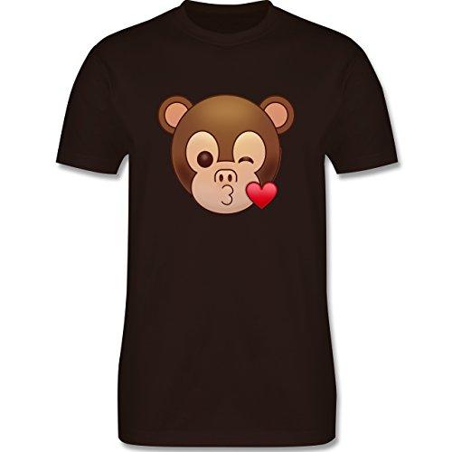 Comic Shirts - Küsschen Äffchen Emoji - Herren Premium T-Shirt Braun
