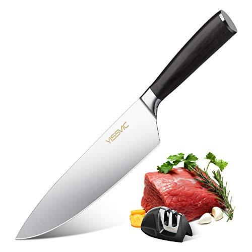 YISSVIC Couteau de Cuisines Professionnel 20 cm Couteau de Chef avec Aiguisoir en Acier Inoxydable à Haute Teneur en Carbone et Poignée Ergonomique
