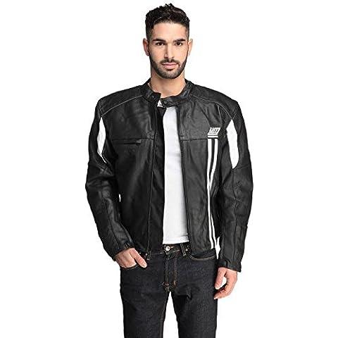 UM Moto cuero-Cazadora para hombre, color negro, color , tamaño XXL