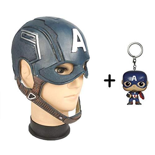 BGHKFF Captain America Maske Mottoparty Helm Halloween Cosplay Hüte Karneval Schminke Zubehör Kopfbedeckung + PVC Schlüsselanhänger