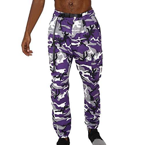 46ab2cbff2f3c Juleya New Hombre Camo Pantalones Streetwear Street Camuflaje Pantalones  Hip Hop Pantalones Multi Bolsillos Cargo Blue