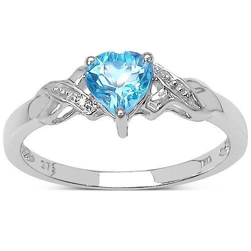 dc1d40070b40 La Colección Anillo Topacio   Anillo Oro Blanco 9ct con corazón de Topacio  Azul y set Diamantes en los hombros