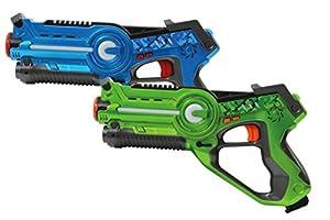 Jamara 410036 Pistola de Juguete Arma de Juguete - Armas de Juguete (Pistola de Juguete, 8 año(s), Azul, Verde, 1,5 V, AA, 28 cm)