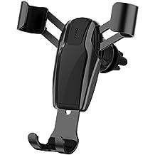 Soporte Móvil Coche, Soporte Smartphone Coche para Rejillas del Aire de Coche, Universal 360 ° Rotación Diseño de enlace de gravedad Car Mount para iPhone 7/6 Plus/6s/6/SE y Android Smartphone GPS Navegador.. (Negro)