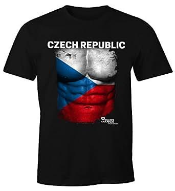 EM T-Shirt Herren Fußball Tschechien Flagge Fanshirt Waschbrettbauch Fan Shirt MoonWorks®