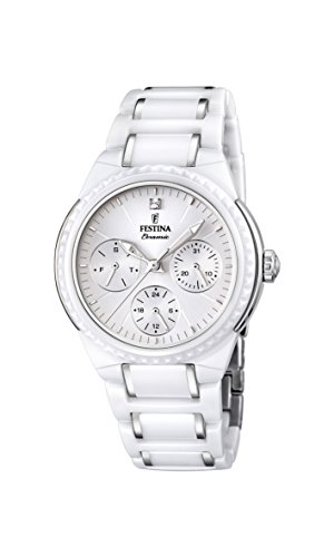 Festina Women's Quartz Watch with White Dial Analogue Display and White Ceramic Bracelet F16699/1