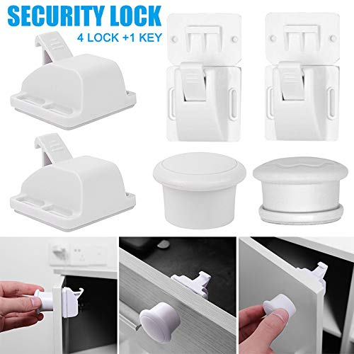 Imagen para Mntins Cerraduras magnéticas para gabinete, Seguridad para bebés, Invisibles, a Prueba de niños, para armarios y cajones