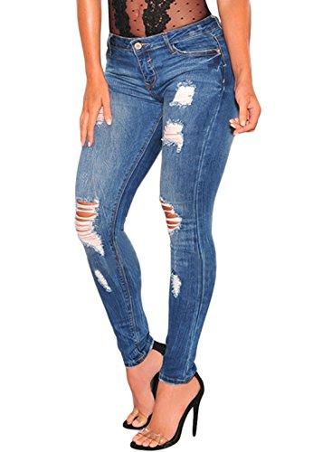 Aleumdr Skinny Jeans Donna Elasticizzati Pantaloni Strappati Donna Lunghi Blu - 2XL(EU52-54)