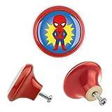 Möbelknopf Keramik 06184R Kinder Superhelden Superheroes Antik Porzellan Shabby Chic Möbelknöpfe Griffe Knäufe für Schrank Schublade Kommode Kinderzimmer