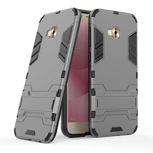 Zenfone4 Selfie Pro(ZD552KL) Hülle,EVERGREENBUYING Abnehmbare Hybrid Schein ZD552KL Tasche Ultra-dünne Schutzhülle Case Cover mit Ständer Etui für ASUS ZenFone 4 Selfie Pro Saphir Grau