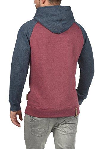 INDICODE Elliot Herren Kapuzenpullover Hoodie Sweatshirt mit Kapuze aus 100% Baumwolle Meliert Wine