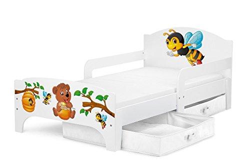 Smart Letto Lettino Per Bambini In Legno Cassetto Cassettone e Materasso Magnifiche Stampe Mobili Per Bambini Attrezzatura Stanza Per Bambino Dimensioni 140x70 Tema: Orsacchiotto e Api