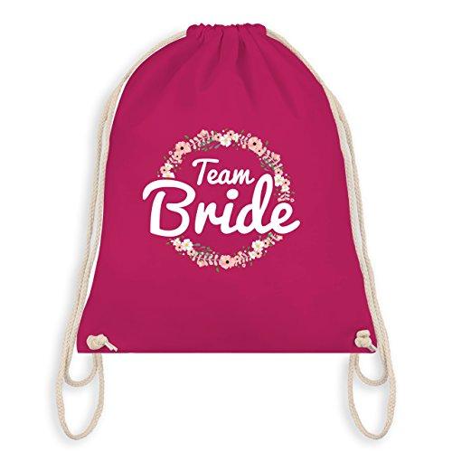 JGA Junggesellinnenabschied - Team Bride Blumenkranz - Unisize - Fuchsia - WM110 - Turnbeutel I Gym Bag (Floral Jute)