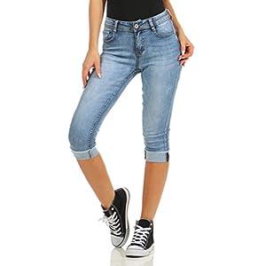 Fashion4Young 5978 Damen Capri Jeans Bermudas Shorts Kurze Hose Caprijeans High-Waist