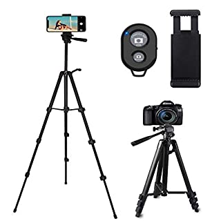 CCRoom Camera Tripod, 50in Phone Tripod for Iphone Smartphone with Phone Holder and Remote Control