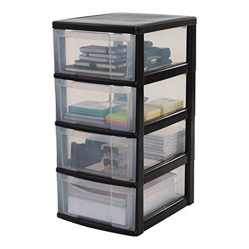 IRIS, Schubladenschrank / Schubladenbox / Rollwagen / Rollcontainer / Werkzeugschrank 'New Chest', NMC-004, mit Rollen, Kunststoff, schwarz / transparent